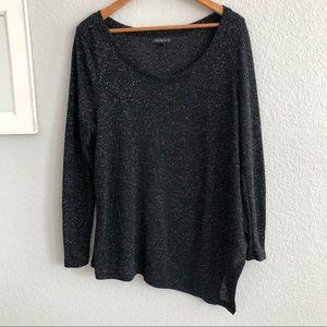 Lane Bryant Black Asymmetrical Sparkle Sweater